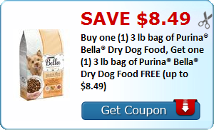 db020b92925 Coupons.com just released a new Buy one (1) 3 lb bag of Purina® Bella® Dry  Dog Food, Get one (1) 3 lb bag of Purina® Bella® Dry Dog Food FREE (up to  $8.49 ...